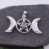 P493 - Triple moon pendant with moonstone