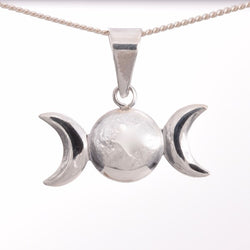 P561 - Lightweight silver triple moon pendant