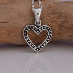 P592 - Silver outline heart pendant