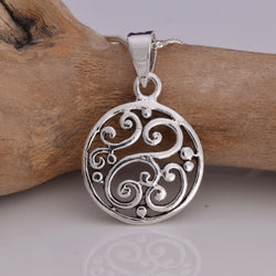 P596 - Scroll design silver disc pendant