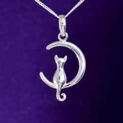 P606 - Crescent moon and cat pendant