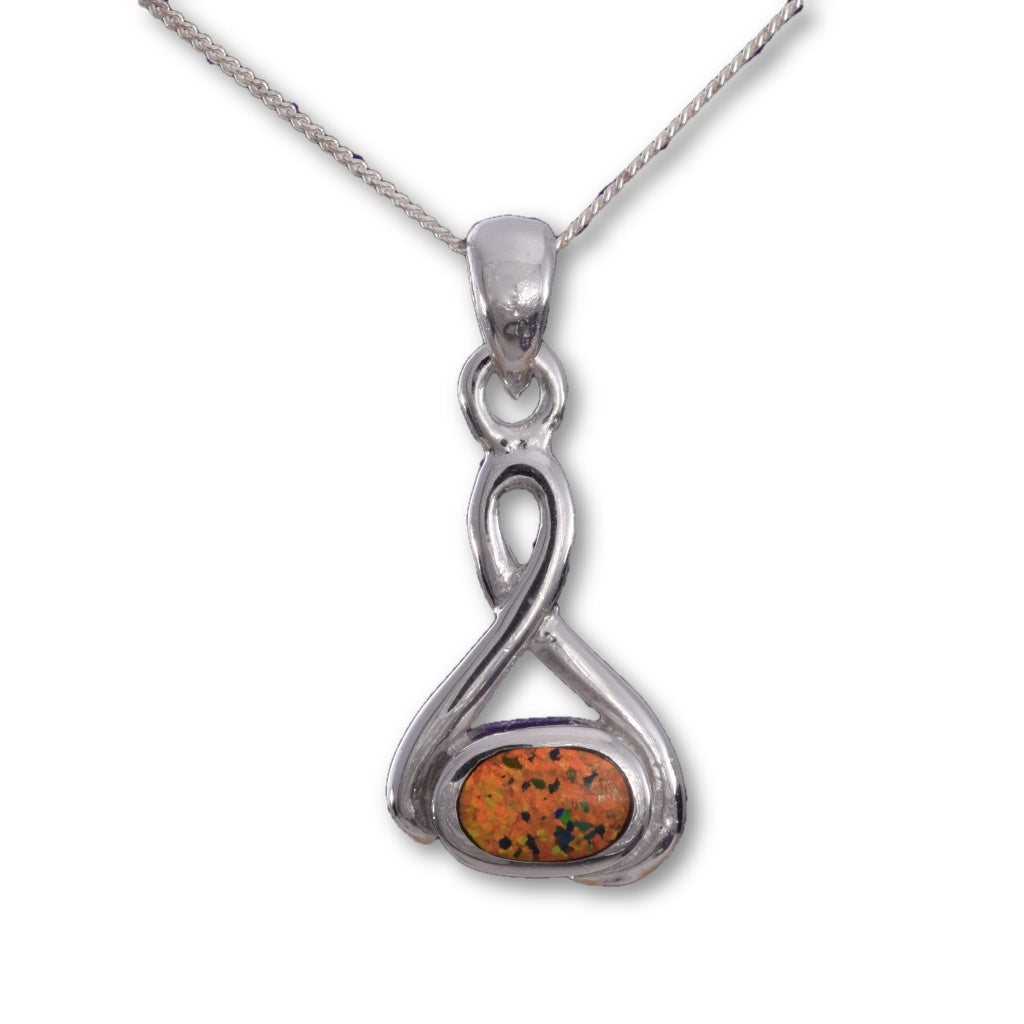 P610 - Sterling silver Celtic knot Fire opal inlay