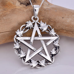 P631 - 925 Pentagram and ivy pendant
