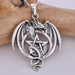 P634 - 925 Dragon with pentagram pendant