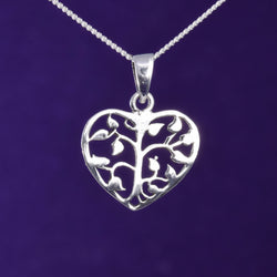 P642 - Silver heart tree pendant