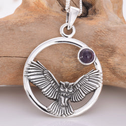 P659 - 925 Owl in flight silver pendant