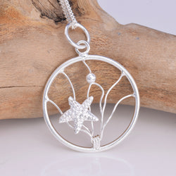 P665 - Silver Starfish sealife pendant