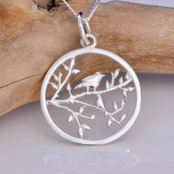 P669 - Love bird in a tree silver pendant