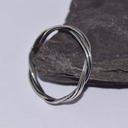 R070 Twin band twisted stack ring with high polished band.