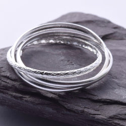 R105 - 925 silver triple rolling band ring