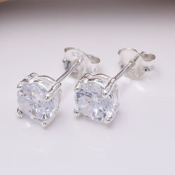 S026 - Sterling Silver claw set studs 6mm