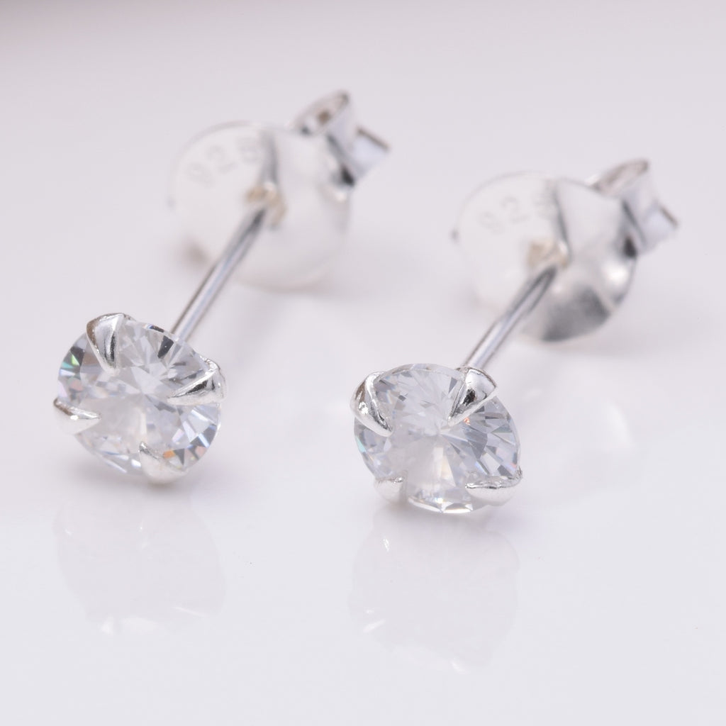 S031 4mm CZ 4 Claw Pressed Stud Earring