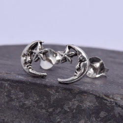 S220 - Moon and Star Stud Earrings