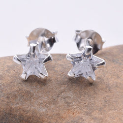 S237 Star CZ 6mm stud earring