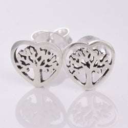 S267 Tree Of life heart shape stud earrings