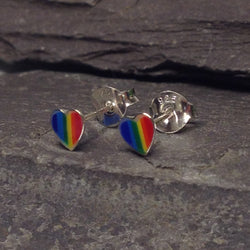 S328 - Rainbow Heart shape stud earrings