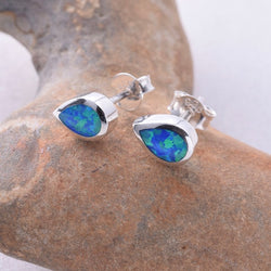 "S410 - Teardrop ""Fire Opal"" stud earrings"