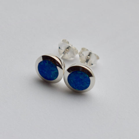 opal earrings post stud sterlingblue silver fire