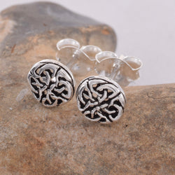 S420 Round celtic stud earrings