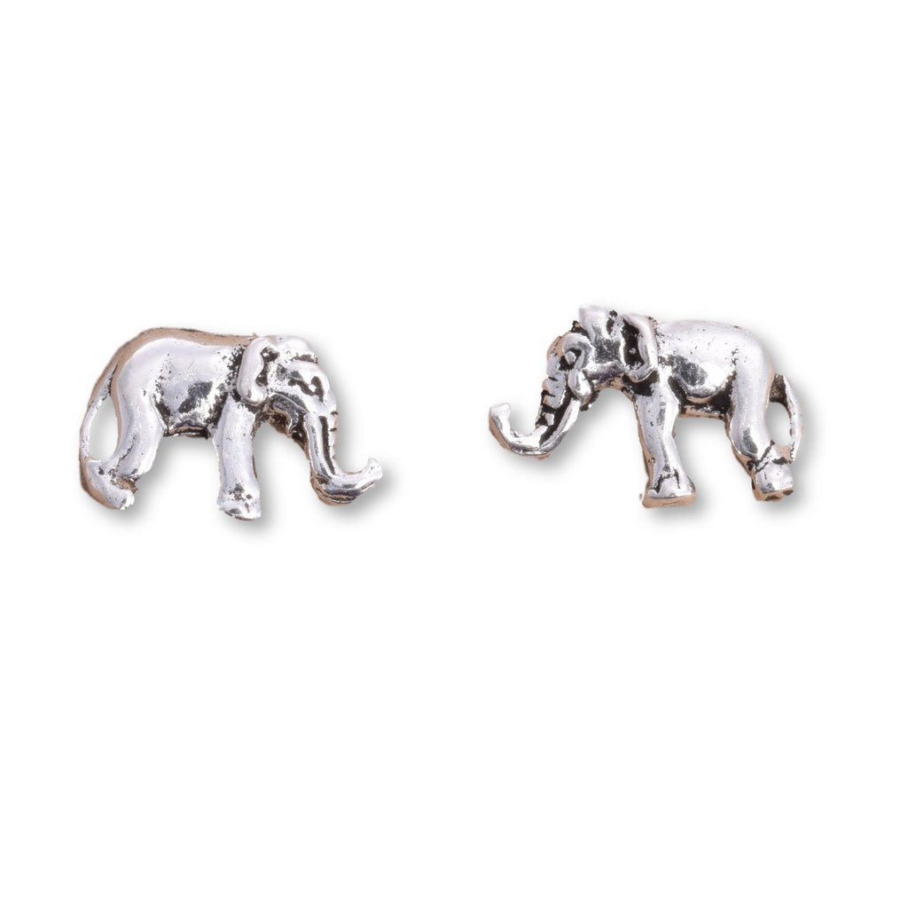 S539 - Silver elephant stud earrings