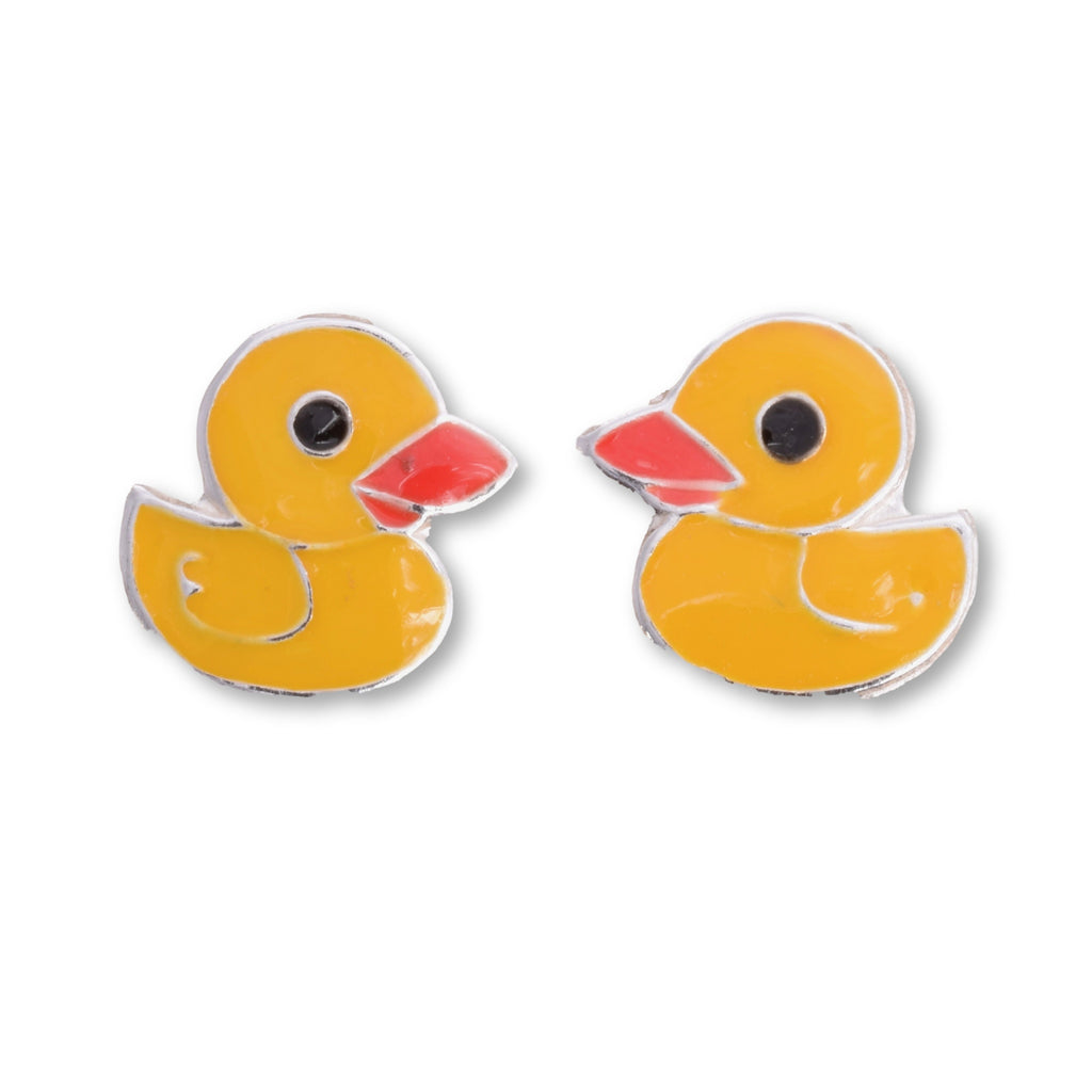 S542 - Cute yellow duck silver stus earrings