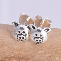 S545 - Silver pig face stud earrings