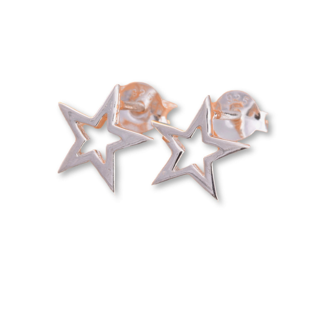 S551 - 5 Point silver star stud earrings