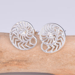 S554 - Silver Nautilus stud earrings