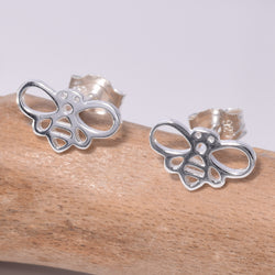 S622 - Silver outline bumble bee stud earrings