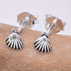 S627 - Tiny scallop shell stud earrings
