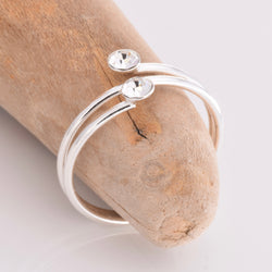 TR051 - Wire band toe ring with stones