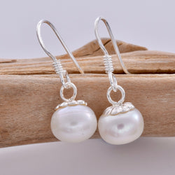E599 - 9mm freshwater pearl drop earrings