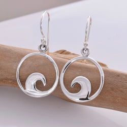 E608 - Silver wave disc earrings