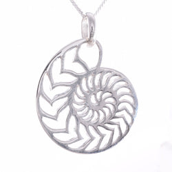 P696 - Large outline Nautilus pendant