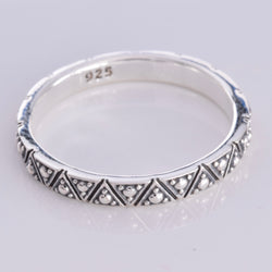 R155 - Silver Aztec design stack ring