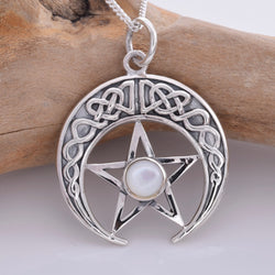 P685 - Celtic crescent moon and pentagram