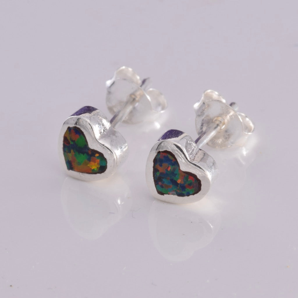 S516 - Silver heart with red fire opal inlay