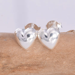S160 Silver puffed heart stud earrings
