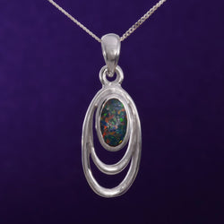 "P612 - Silver Oval pendant with ""fire opal"""