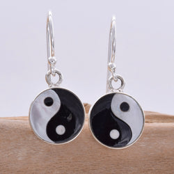 E597 - 10mm ying yang dro earrings