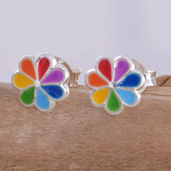S579 - Rainbow colour flower stud earrings