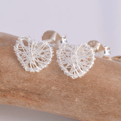 S335 - Embroidered silver heart stud earrings