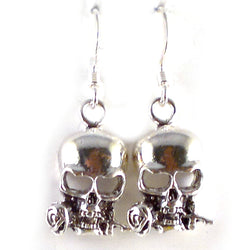 E089 - Skull and rose silver earrings