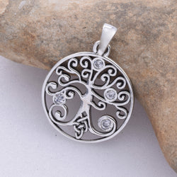 P310 - Tree of life pendant with CZ stones