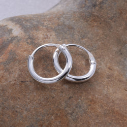 E082 - 1.2 x 8mm Silver Hoop Earring
