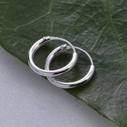 E077 - 1.2 x 10mm Silver Hoop Earring