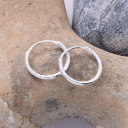 E078 1.2 x 12mm Silver Hoop Earring