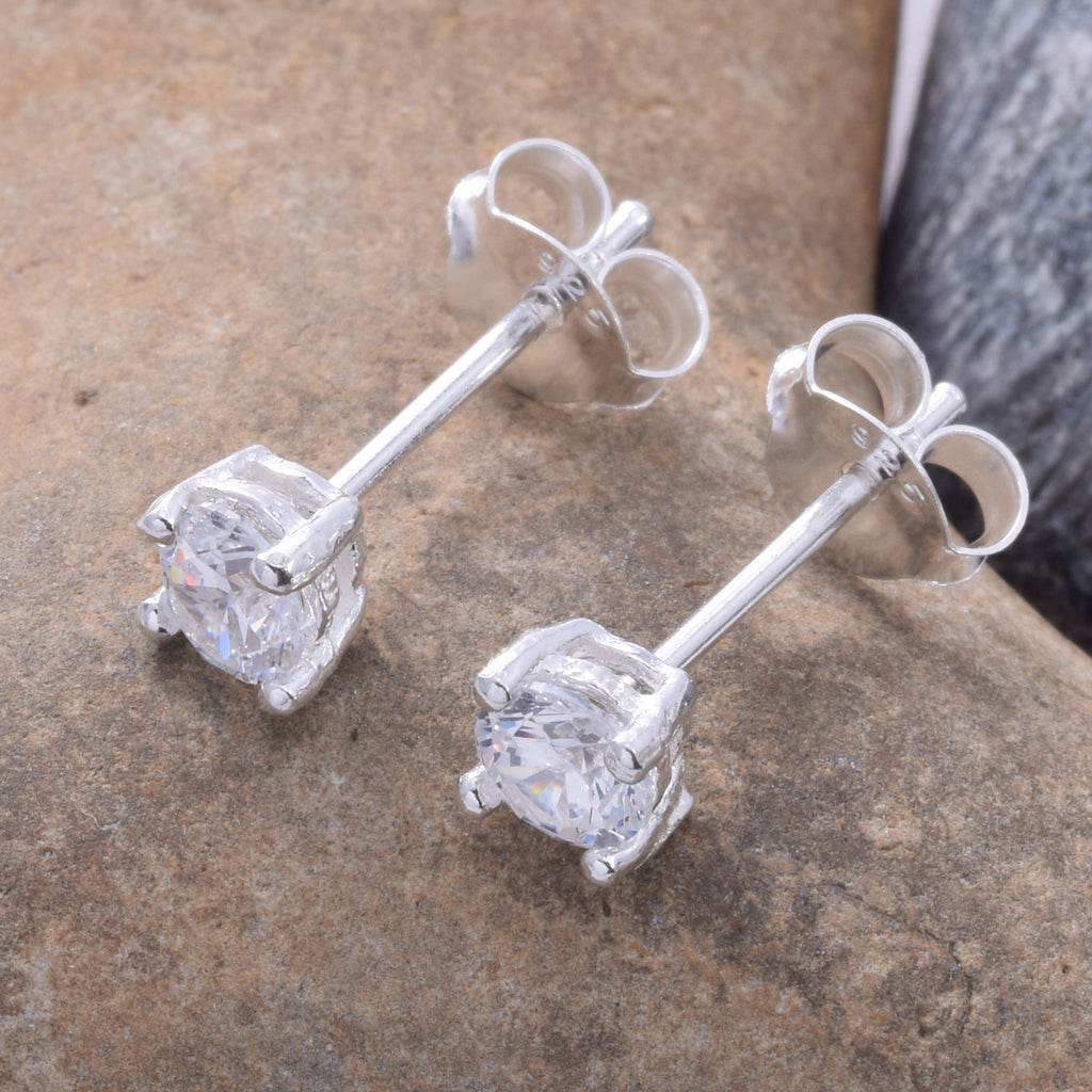 S027 - 4mm CZ 4 Claw Cast Stud Earring
