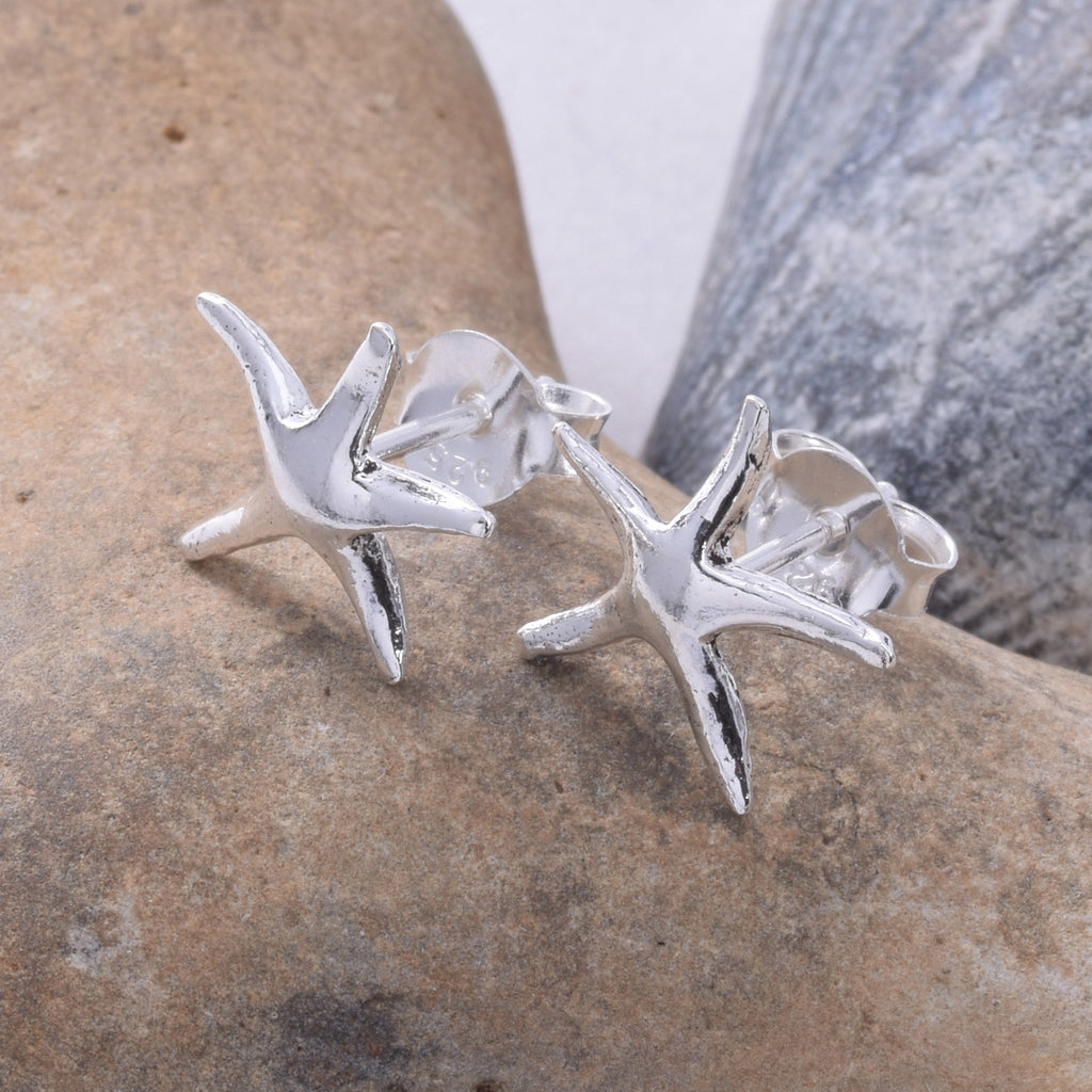 S102 - Silver Starfish Stud Earrings