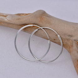E462 - 1.2 x 25mm Sleeper hoop earrings
